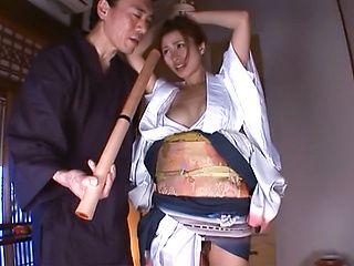 Busty Japanese milf in a kimono Akari Asahina enjoys stand fucking