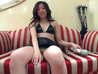 Horny mature uses big toy on her fatty Japanese pussy