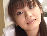 Hot nurse Akane Oozora sucks her patient and eats sperm picture 12