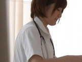 Helpful Japanese nurse Kotomi Saeki licks balls and sucks cock