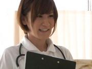 Helpful Japanese nurse Kotomi Saeki licks balls and sucks cock