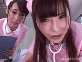 Appealing nurses Caire Hasumi and Anri Okita share hard cock