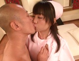 Lovely Tokyo nurse in white nylon pantyhose enjoys hardcore riding