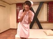 Lovely Tokyo nurse in white nylon pantyhose enjoys hardcore riding