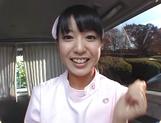 Asian nurse Nana Nanaumi gets hard fucked on the back seat
