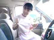 Asian nurse Nana Nanaumi gets hard fucked on the back seat