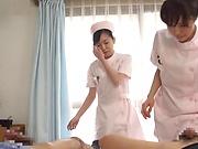 Horny nurses enjoying a delight-some fuck