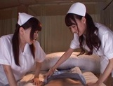 Lusty Asian nurses Caire Hasumi and Anri Okita play with cock picture 13