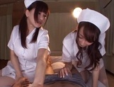 Lusty Asian nurses Caire Hasumi and Anri Okita play with cock picture 14