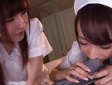 Lusty Asian nurses Caire Hasumi and Anri Okita play with cock picture 15