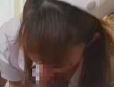 Kinky Japanese nurse blows cock on porn cam picture 14