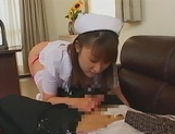 Kinky Japanese nurse blows cock on porn cam picture 7