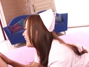 Cock-starved Japanese nurse gives a deep blowjob and rides on dick hard