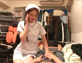 Helpful nurse Ameri Ichinose gives a hand job and sucks cock picture 14
