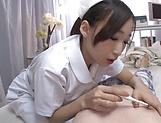 Nurse in heats deals patient's cock with her feet picture 12
