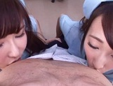 Frisky vixens Caire Hasumi and Anri Okita enjoy titfuck swallow cumshot picture 11