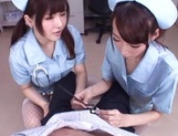Frisky vixens Caire Hasumi and Anri Okita enjoy titfuck swallow cumshot picture 6