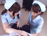 Frisky vixens Caire Hasumi and Anri Okita enjoy titfuck swallow cumshot picture 8