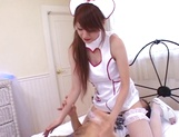Busty nurse in a sexy uniform gives a throat job and a hot ride picture 12