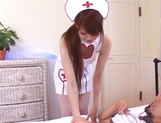Busty nurse in a sexy uniform gives a throat job and a hot ride
