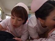Enchanting group sex with three hot nurses
