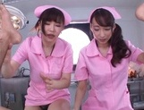 Sweet nurses Claire Hasumi and Anri Okita ride dick on pov video picture 12