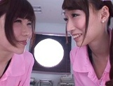Sweet nurses Claire Hasumi and Anri Okita ride dick on pov video picture 1
