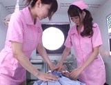 Sweet nurses Claire Hasumi and Anri Okita ride dick on pov video picture 2