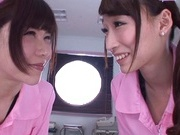 Sweet nurses Claire Hasumi and Anri Okita ride dick on pov video