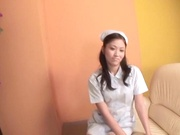 Beautiful Asian nurse throats a big dick in POV