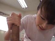Alluring Asian nurses give delightful handjob