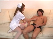 Asian nurse takes good care of a large dong