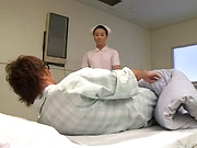 Glamorous Asian nurse moans as she is nailed