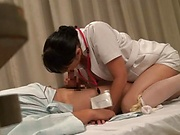 Kinky Asian nurse loves sucking hot wood