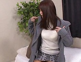 Young Japanese AV model gets jizzed on pussy after a rough fuck