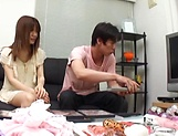 Creampie to end Japanese AV model's naughty threesome show picture 2