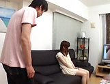 Creampie to end Japanese AV model's naughty threesome show picture 5