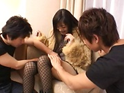 Married woman goes nasty on two young males