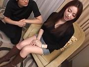 Amazing Japanese beauty hard fucked and jizzed on pussy