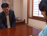 Horny mature Japanese AV Model gets banged in the office picture 3
