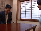 Horny mature Japanese AV Model gets banged in the office