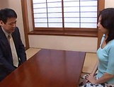 Horny mature Japanese AV Model gets banged in the office picture 9