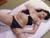 Lingerie clad Japanese AV model gets rough pussy pounding picture 13
