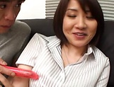 Hot Asian MILF gets her pussy creamed in a threesome picture 6