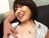 Hot Asian MILF gets her pussy creamed in a threesome picture 7