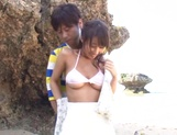 Asian chick with big tits Shunka Ayami fucked on the beach