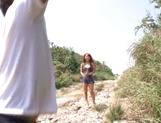 Nice JP babe in short skirt, Mao Kurata gets banged on the beach picture 7