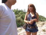 Nice JP babe in short skirt, Mao Kurata gets banged on the beach picture 9