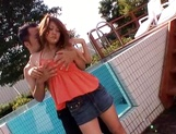 Hot busty Japanese sweetheart gets toyed and banged outdoors