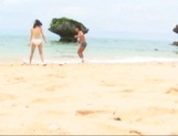 Sex on the beach with superb Asian babe Nana Nanami